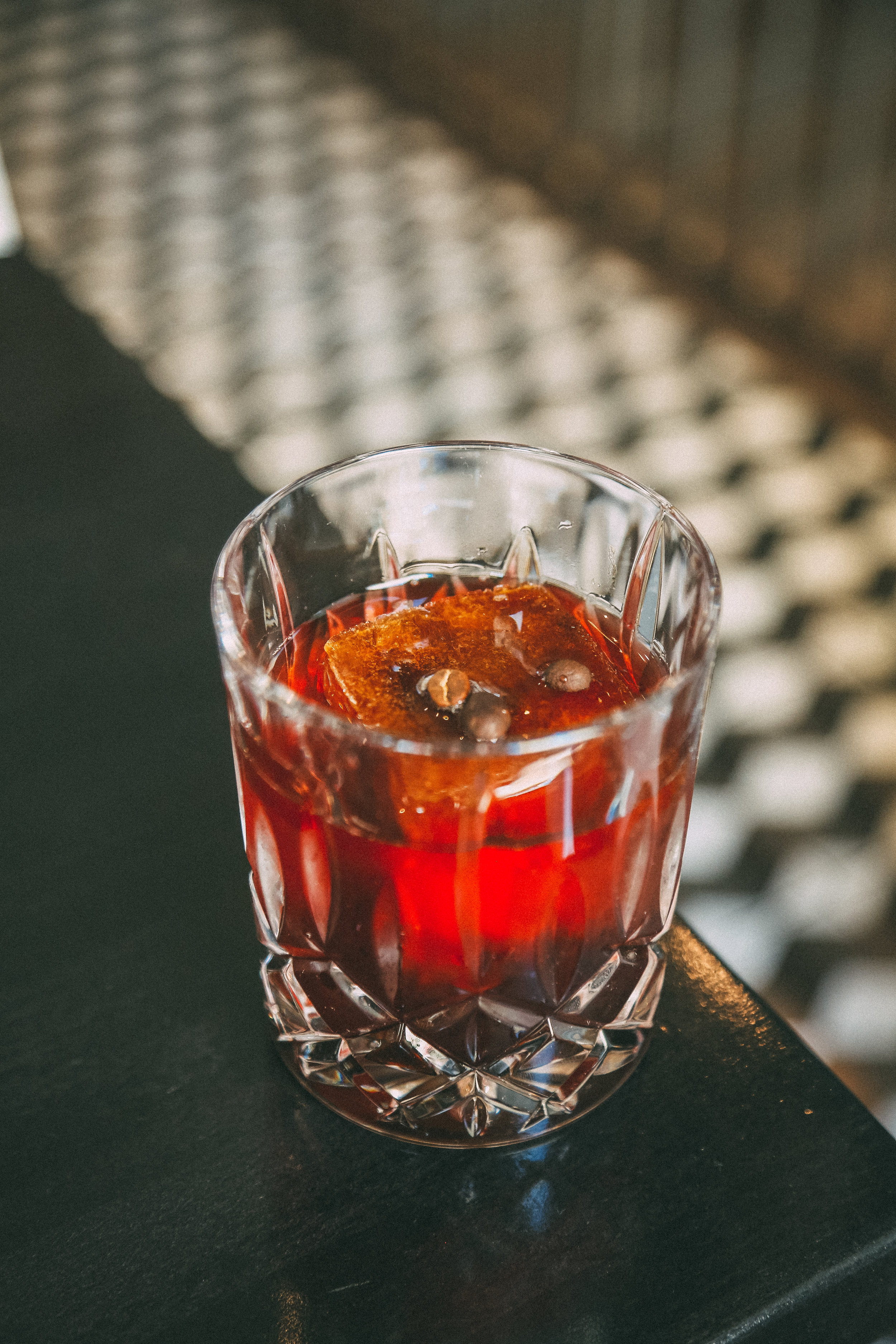 Morning Negroni - gin, Campari, dry vermouth, sherry, cold brew ice