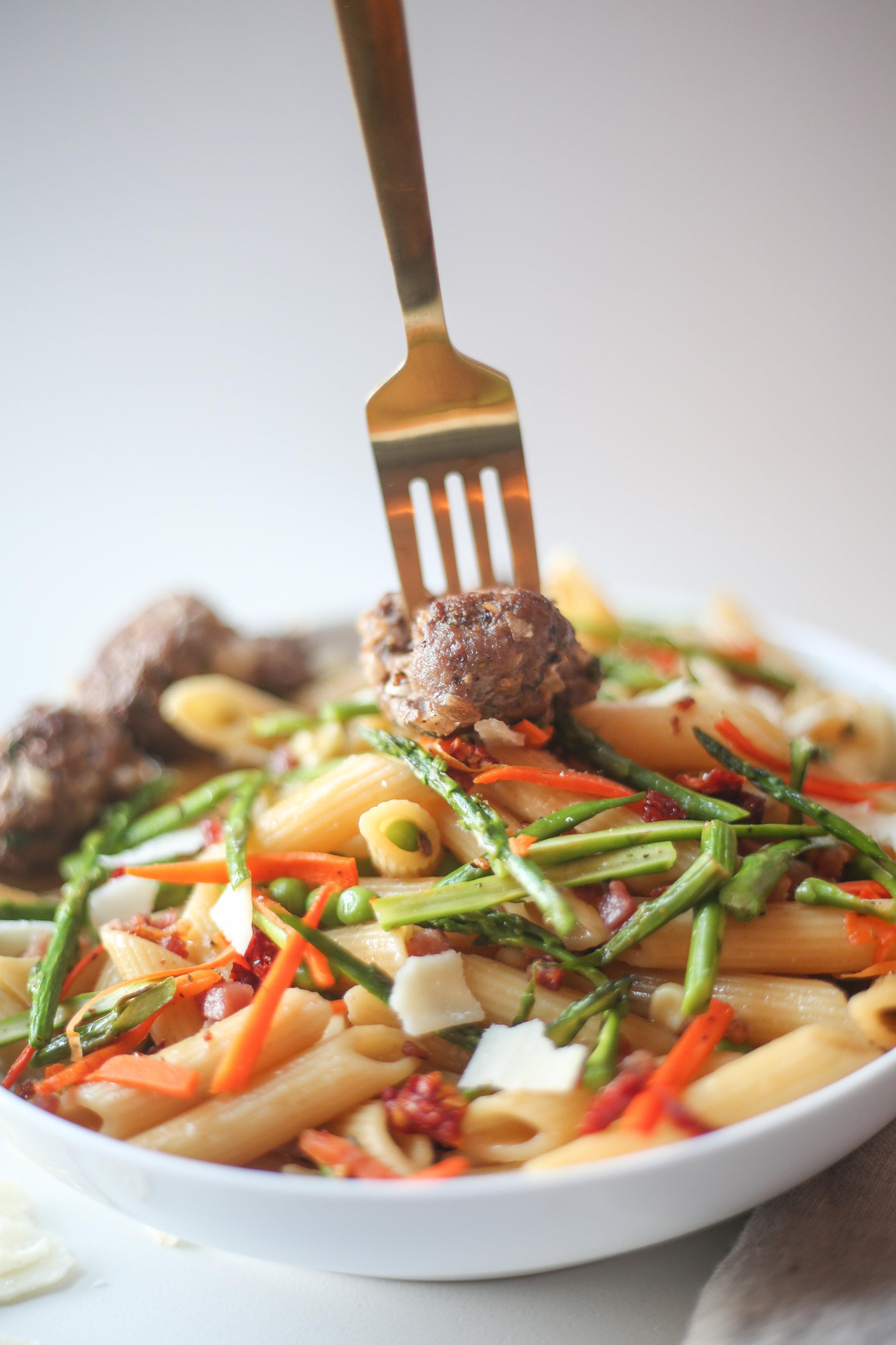 Pasta Primavera with Cilantro Meatballs -