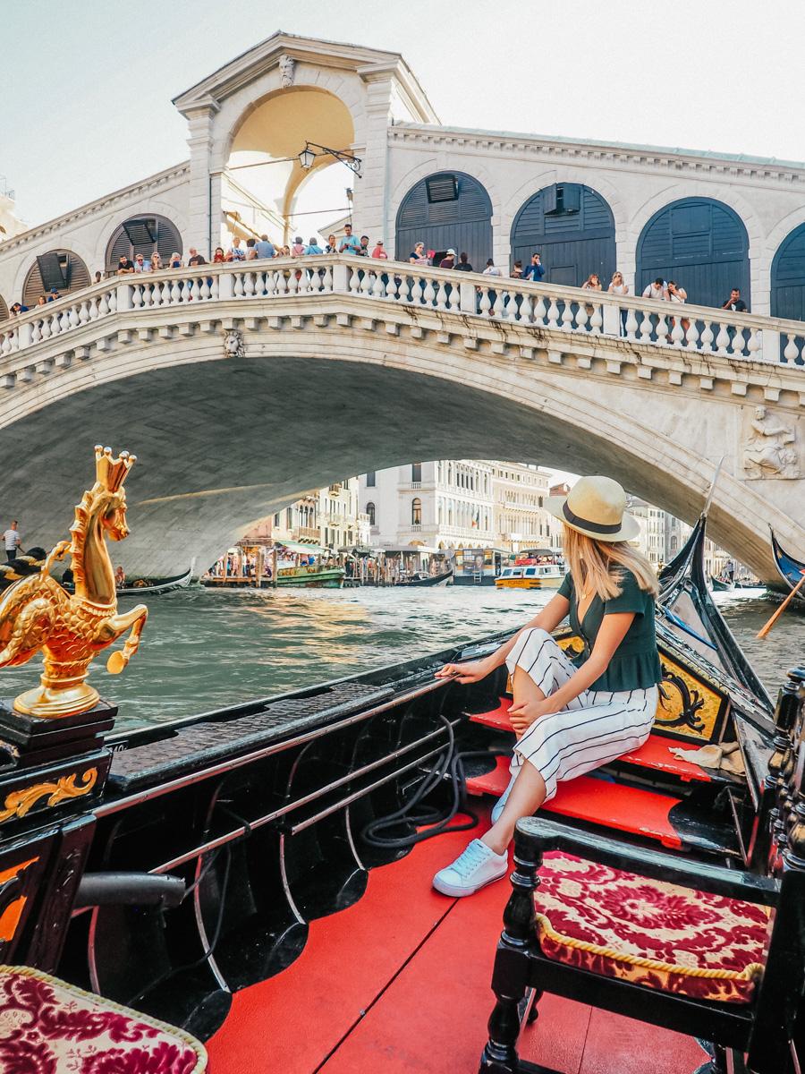 Gondola ride near Rialto Bridge, Venice, Italy, 2018