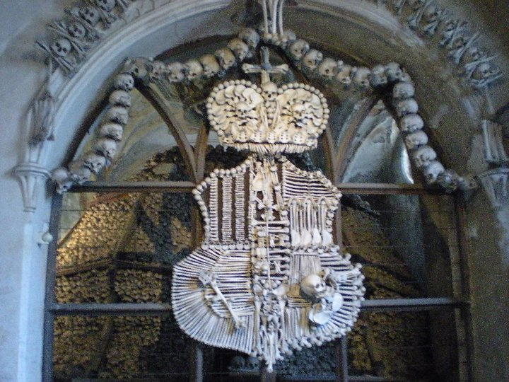 Schwarzenberg family coat-of-arms made of bones and displayed in Sedlec Ossuary.