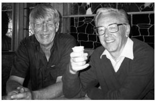 Clayton and his good friend, Charles Schultz. Photo from   Remembering a Good Friend  , Charles M. Schultz Museum.