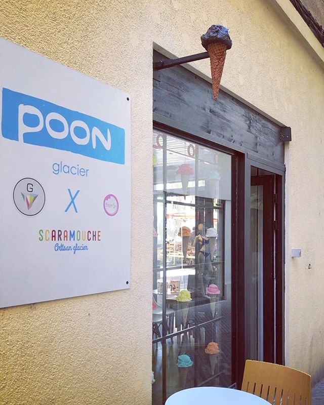 All of the pieces installed @poon.glacier in France! Just finished the bigger exterior piece and previously did nine large cones for the window front! Turned out really great, happy to have the opportunity to work on such fun stuff and they did a great job displaying everything! . . . . . . #icecream #sculpture #display #advertising #custom #art #artwork #fakefood #resinart #resinfood #replica #prop #food #foodart #popart #jourdanjoly #france #poonglacier #icecreamshop