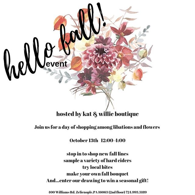 If in the Pittsburgh area be sure to come check out our space, grab some hard ciders, bites to eat and make your own fall floral bouquet while you shop ;)