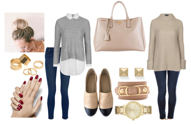 Left: J Brand 811 Mid Ride Jeans ($180), Topshop Round Collar Jumper ($80), Chanel Espadrilles ($675)  Right: Flying Monkey Cooper Dark Skinny Jeans ($63), Topshop Jumbo Trapeze Jumper ($63), Pyramid Stud Earrings ($64), Balenciaga Arena Bracelet ($305), Kate Spade Watch ($225)  Bag is Prada Saffiano Double Zip Tote and on sale for $810 on Designer Daydream.