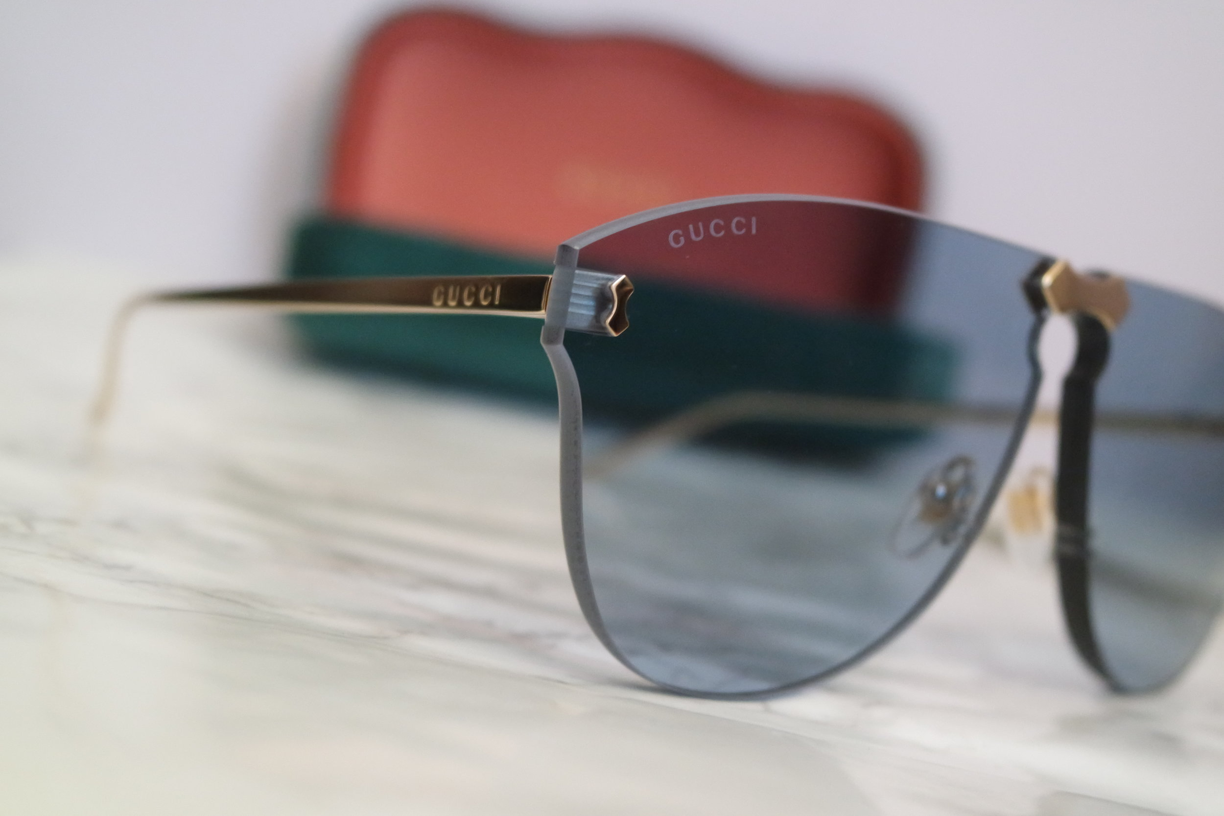 55ff8e063a5b Gucci 0354S Blue Rimless Oversized Aviator Sunglasses — Designer ...