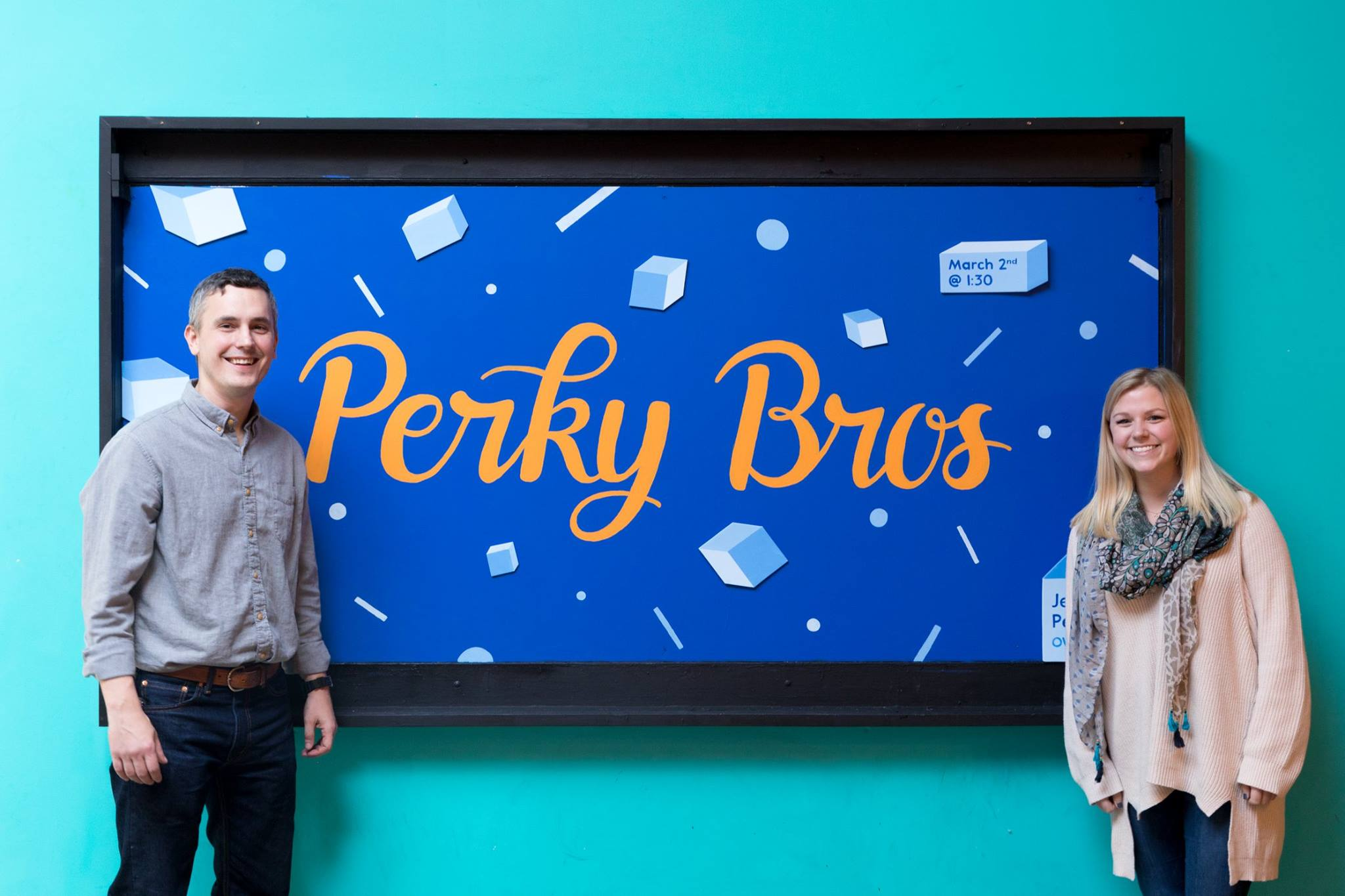 Designed and hand painted a chalkboard for forum speaker Jeff Perky of  Perky Bros .
