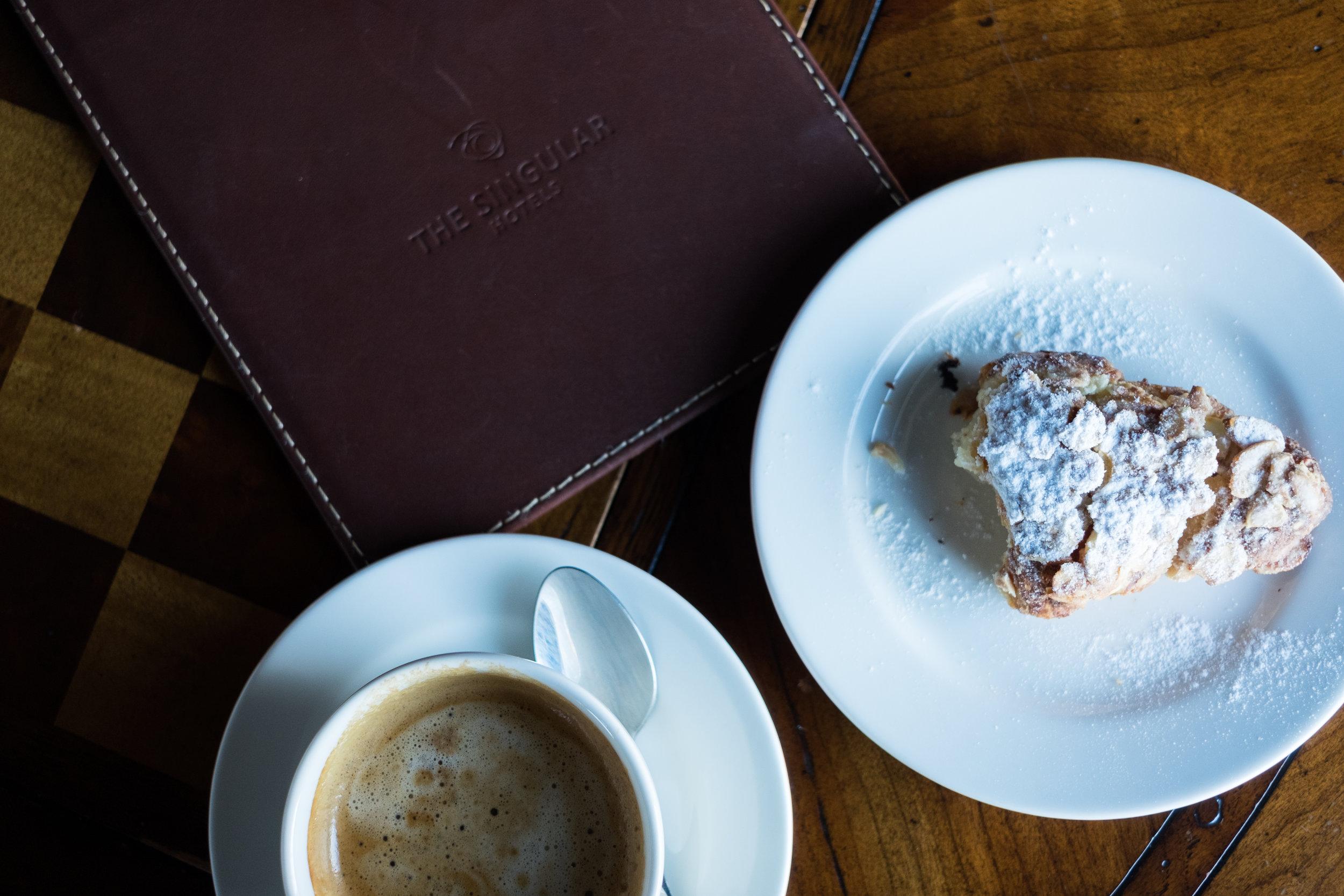Morning coffee & croissants at The Singular