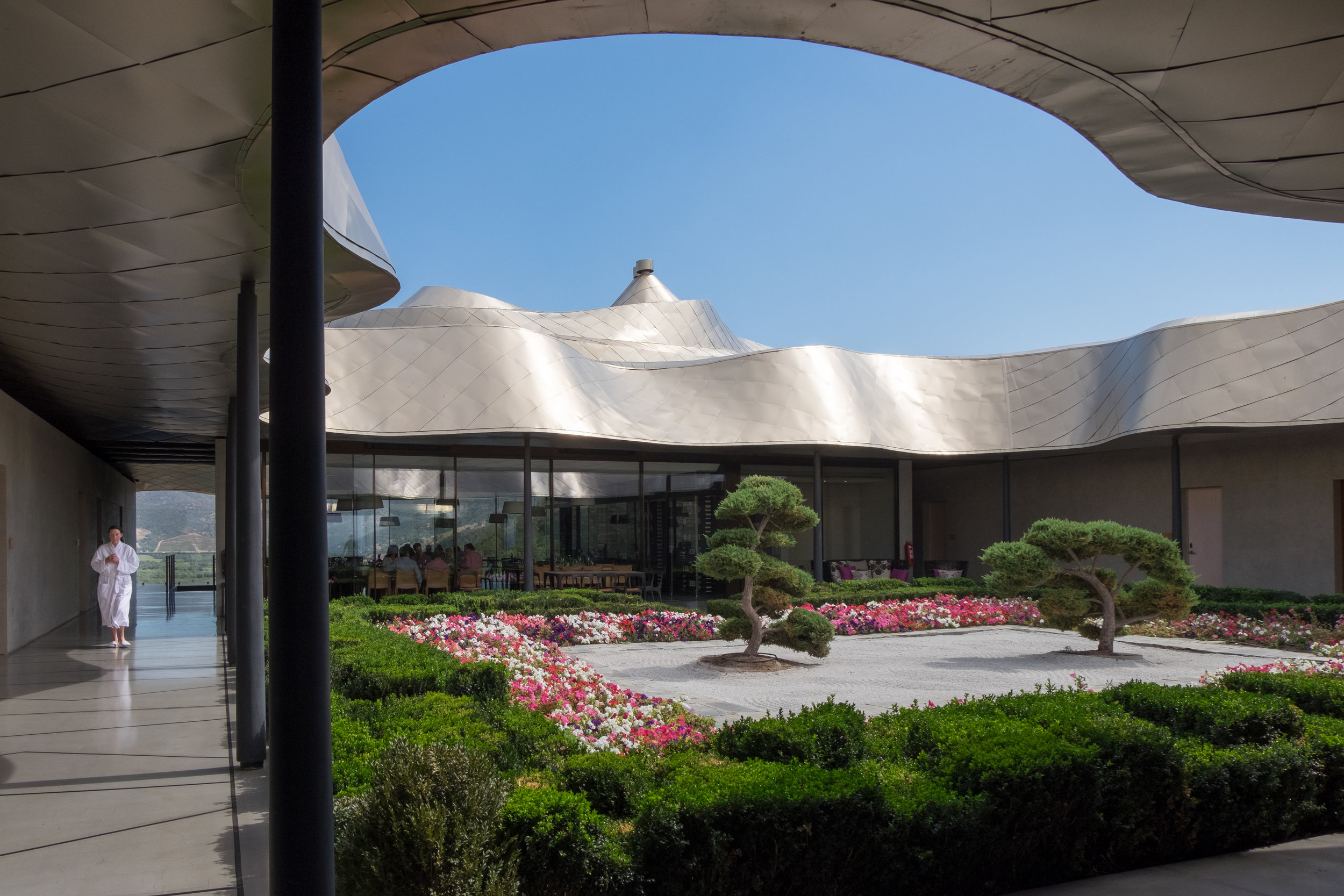 The courtyard at Viña Vik hotel