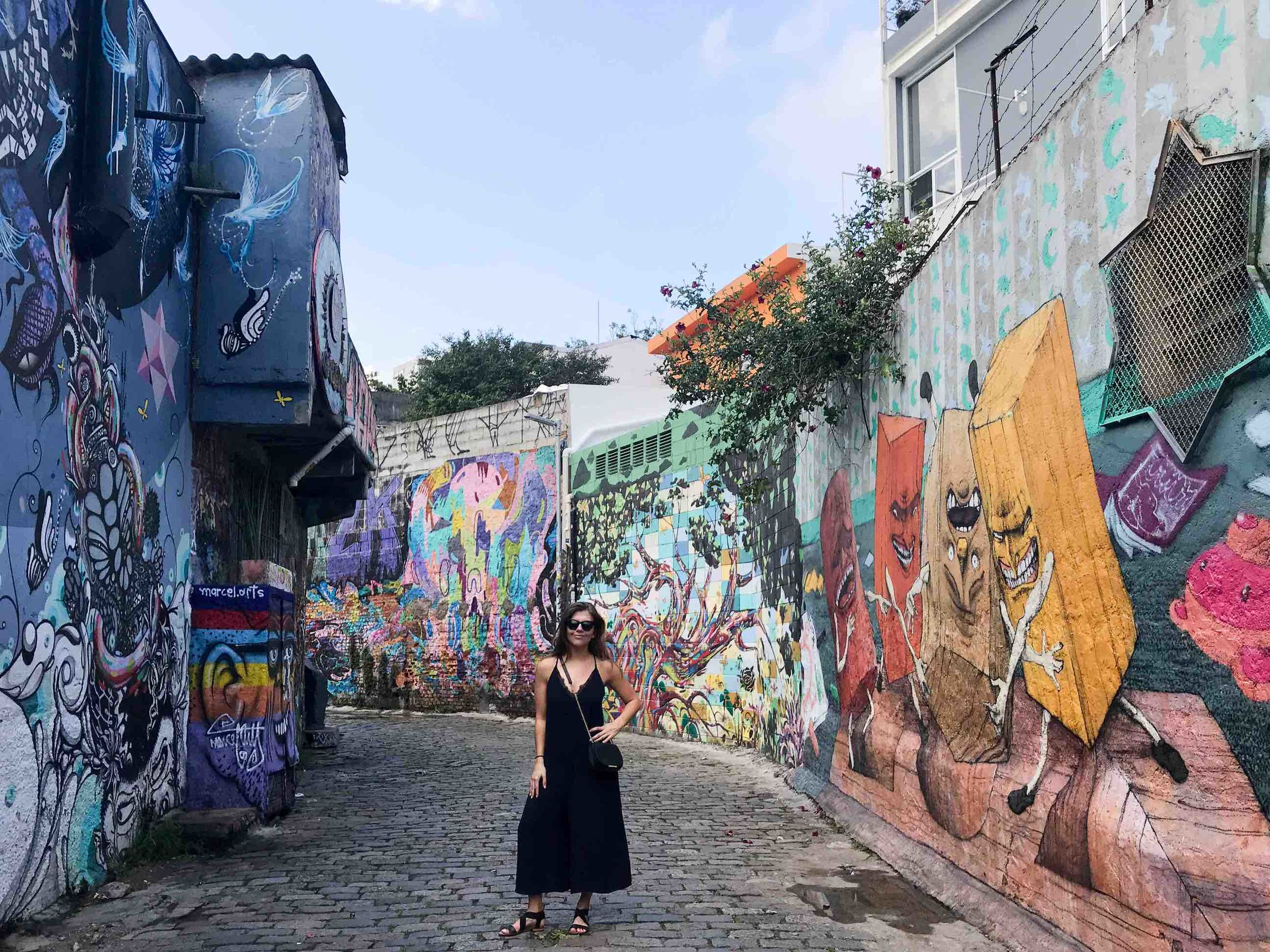 Our founder Lauren at Beco do Batman