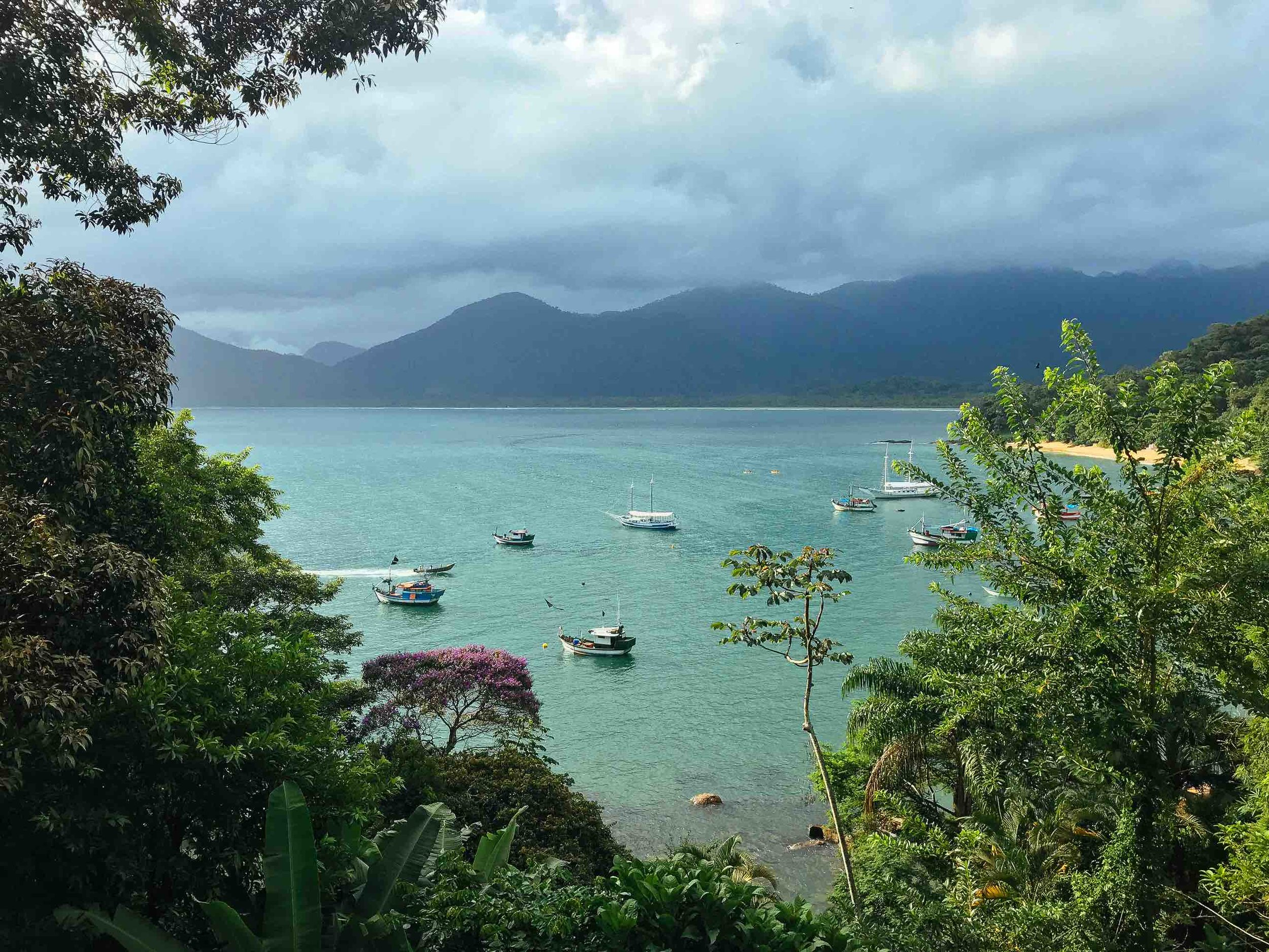 The stunning view from Pousada Picinguaba's patio