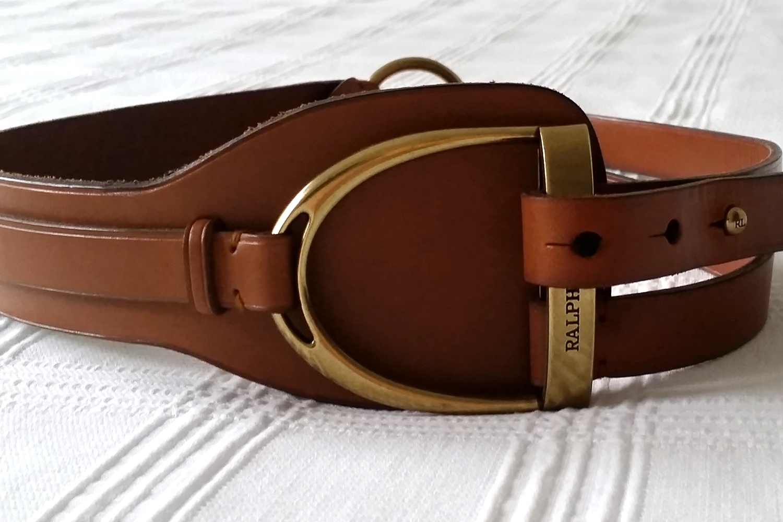 Ralph Lauren Horse Stirrup Belt Brown and Gold Character 32
