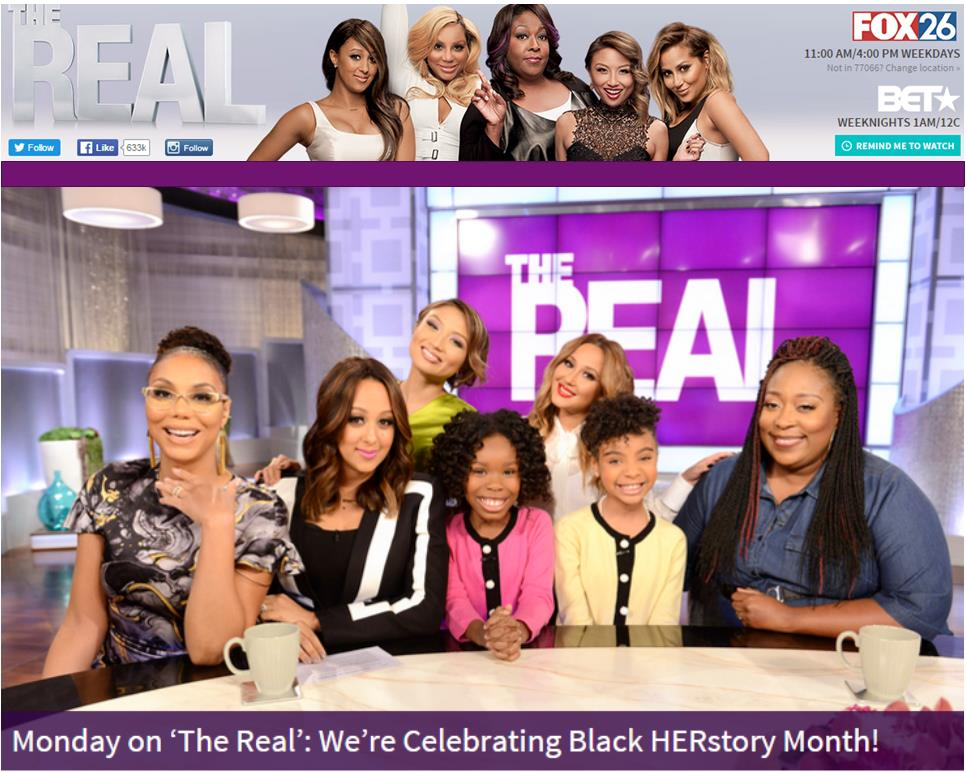 Saniya co-hosts on The Real along with her friend, Kamryn, for a month long tribute to African American women that are impacting history.