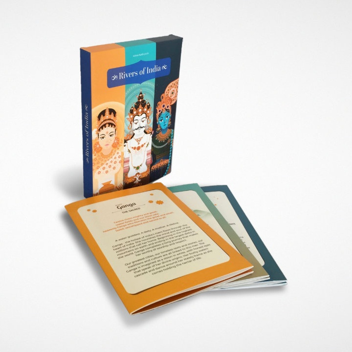 Rivers of India - 3 Multifold Cards with rich & engaging stories, maps, icons & gorgeous personifications of the rivers Ganga, Yamuna, Brahmaputra!