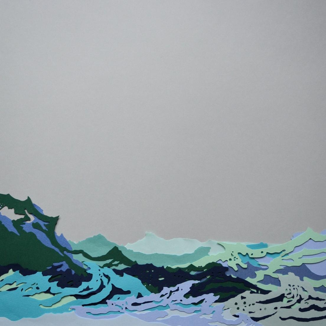 Waves at Brittas Bay   - 2017 - Layered Cut Paper - 50cm x 50cm