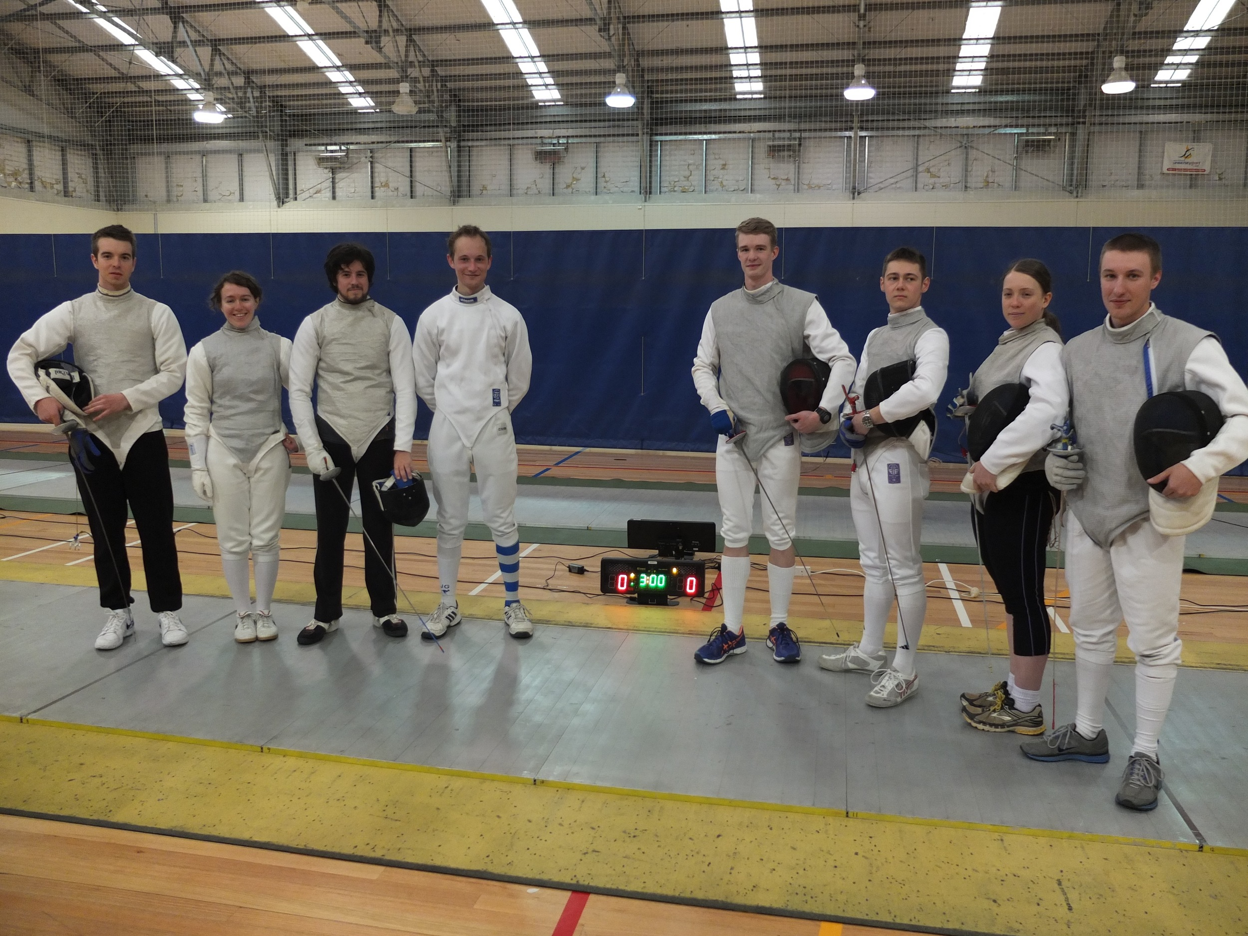 The ANU (left) and ADFA (right) teams for the Foil Team Competition