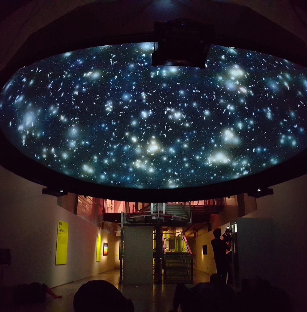 Black Shoal Stock Market Planetarium at Somerset House 2015.Photograph by BBC CLICK Presenter Spencer Kelly
