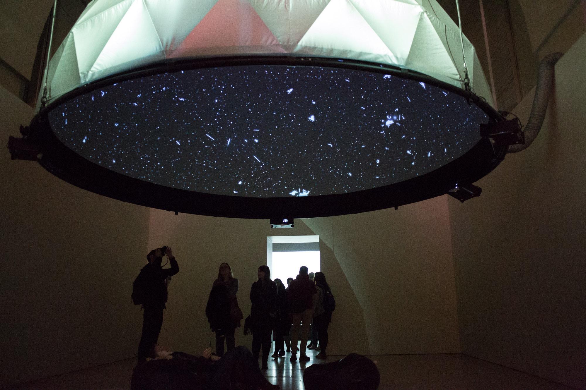 'Black Shoals: Dark Matter'- a stock market planetarium created by Lise Autogena and Joshua Portway, Big Bang Data exhibition,Somerset House,London.Photo by Joshua Portway, 2016