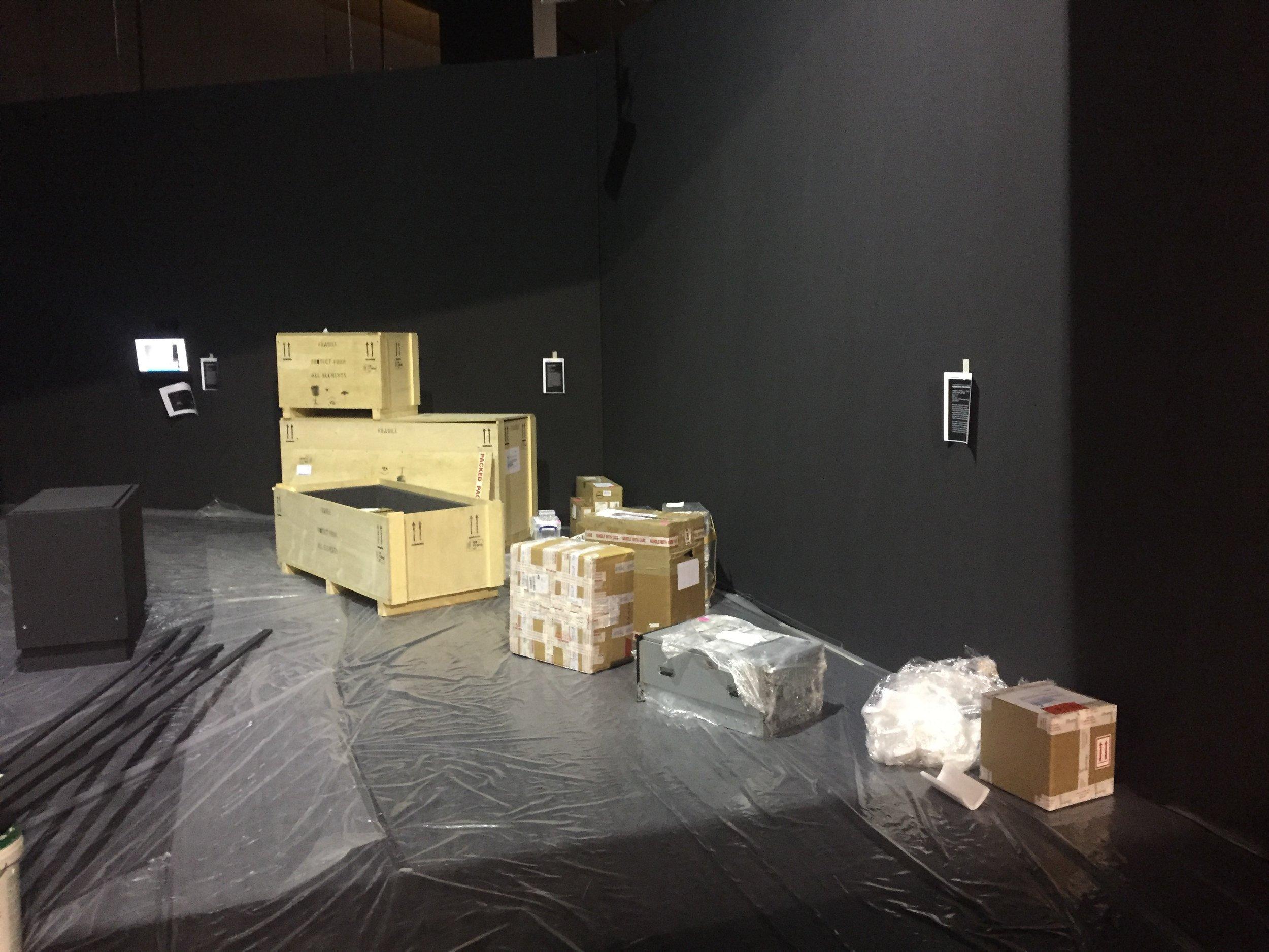 Installation of Black Shoals; Dark Matter by Lise Autogena and Joshua Portway,ArtScience Museum Singapore, Big Bang Data, 2016