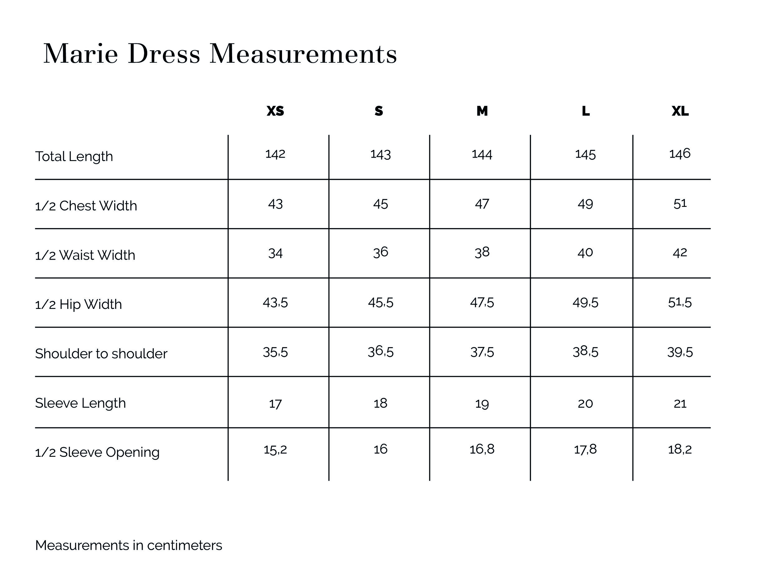 Marie Dress Measurements
