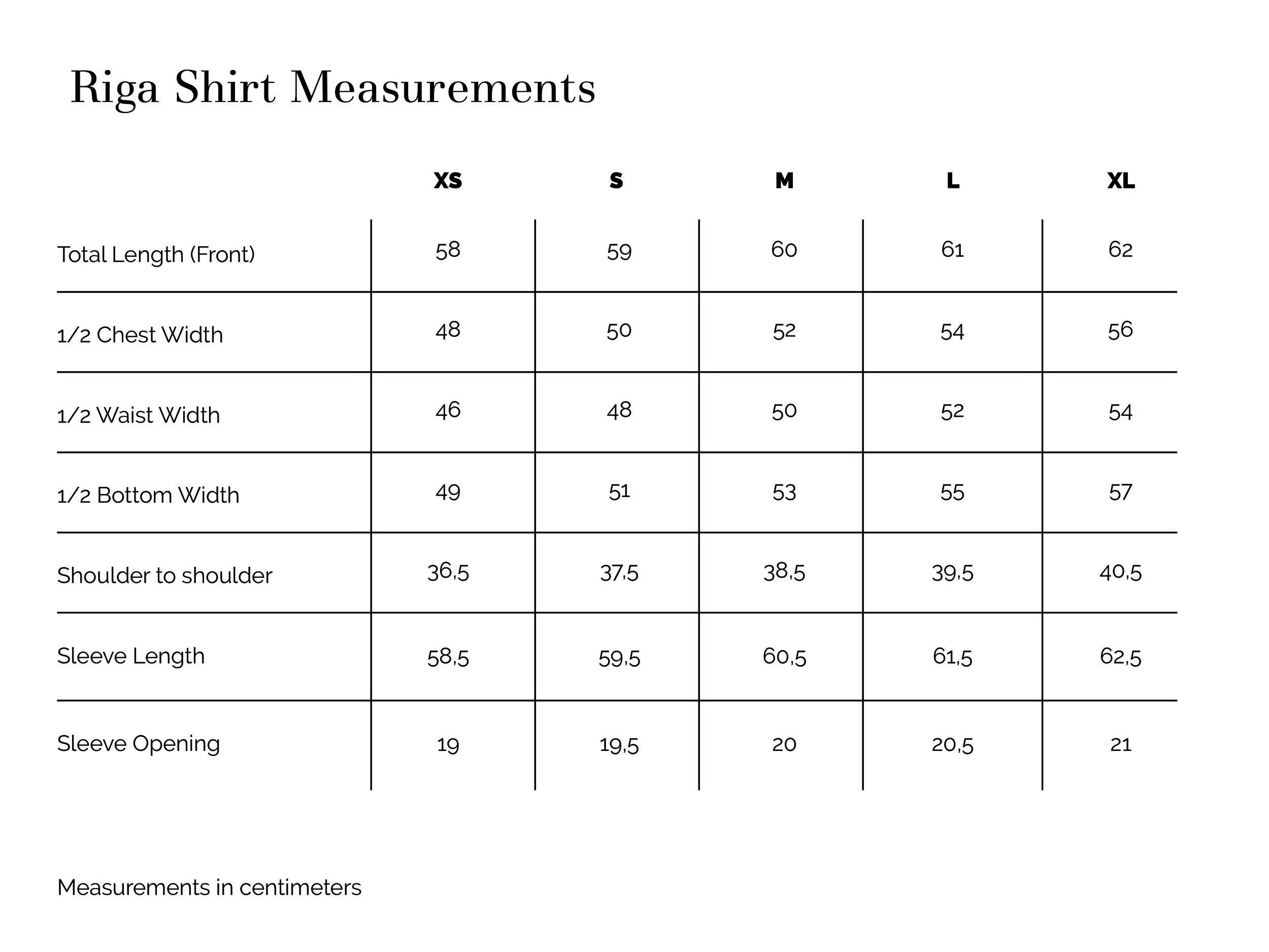 Riga Shirt Measurements