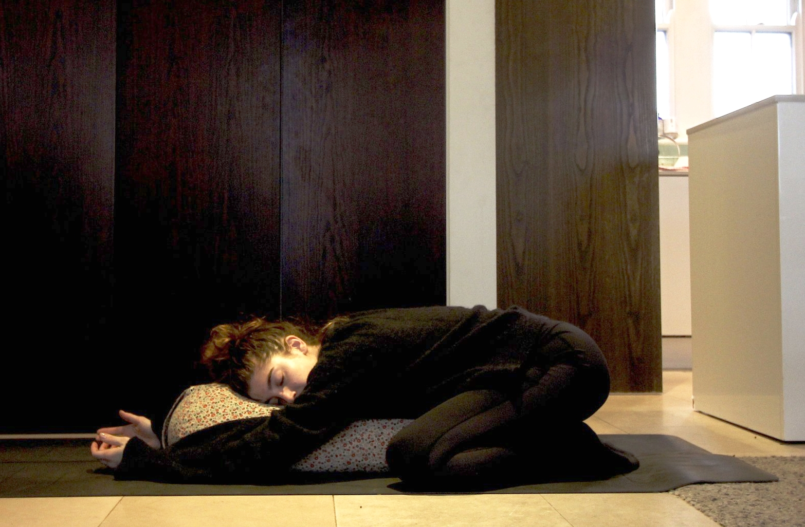 CHILDS POSE  - Bring big toes to touch and knees wide  - Lie on bolster either with face down or facing one way. Make sure to change the turn of the head half way through. If you don't have a bolster you can stack pillows.  - Focus on breath and sensation  - Hold for 5 plus minutes