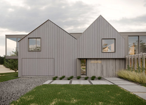 A family home on the coast of the Baltic Sea, where to escape the haste of the city. The architectural volume is both visually and functionally divided into three blocks, drawing inspiration and modernizing the silhouettes of seaside fishermen's dwellings. The wooden façade, cool grey and pale sand tones harmoniously set into the landscape. Whereas the light, unconstrained aesthetic provides space for peace and reprieve.