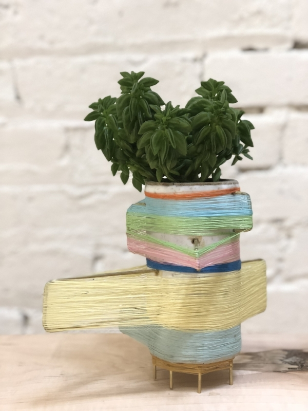 """This is Janet. Ceramic, brass, colored thread, succulent. 9.5"""" x 8"""" x 6"""" $800. Water lightly every other week."""