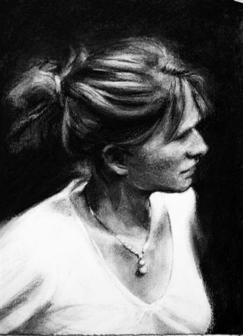 Thea Sharrock, Dir. Vogage Round  my Father, Donmar, charcoal, 38 x 28.JPG