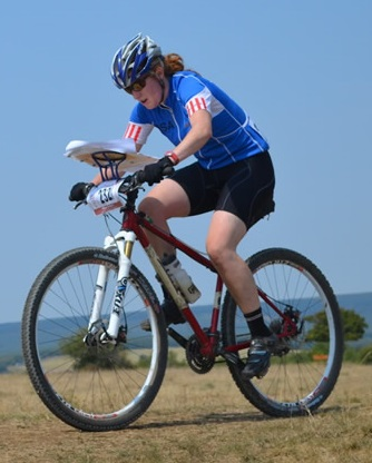 Abra McNair in action  at the World MTB-O Championships.
