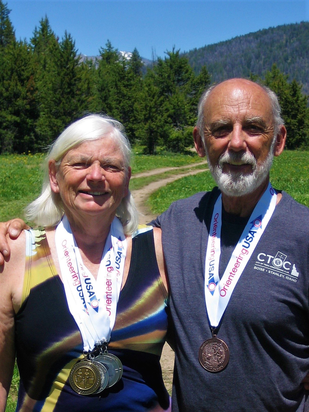 Jill and Rick McBee with an impressive hardware collection! National Championships, Idaho, 2017.