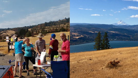 Catherine Creek volunteers at event center and view from the course. Below: Battle Ground Lake participant, map, course. Bottom pictures: Alison Crocker on the course at Mary S. Young, Tony Pinham's beginner clinic at Mary S. Young.