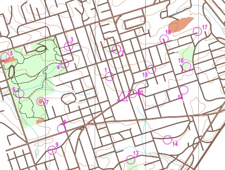 Multnomah Village permanent orienteering course map example