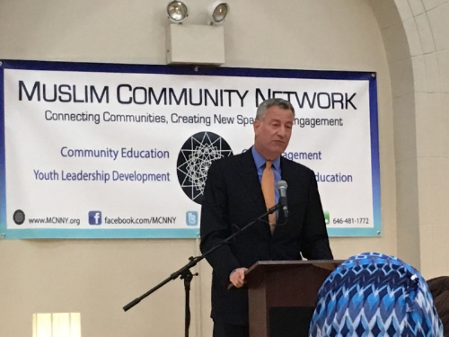 Mayor Bill de Blasio at Ramadan iftar at MCN