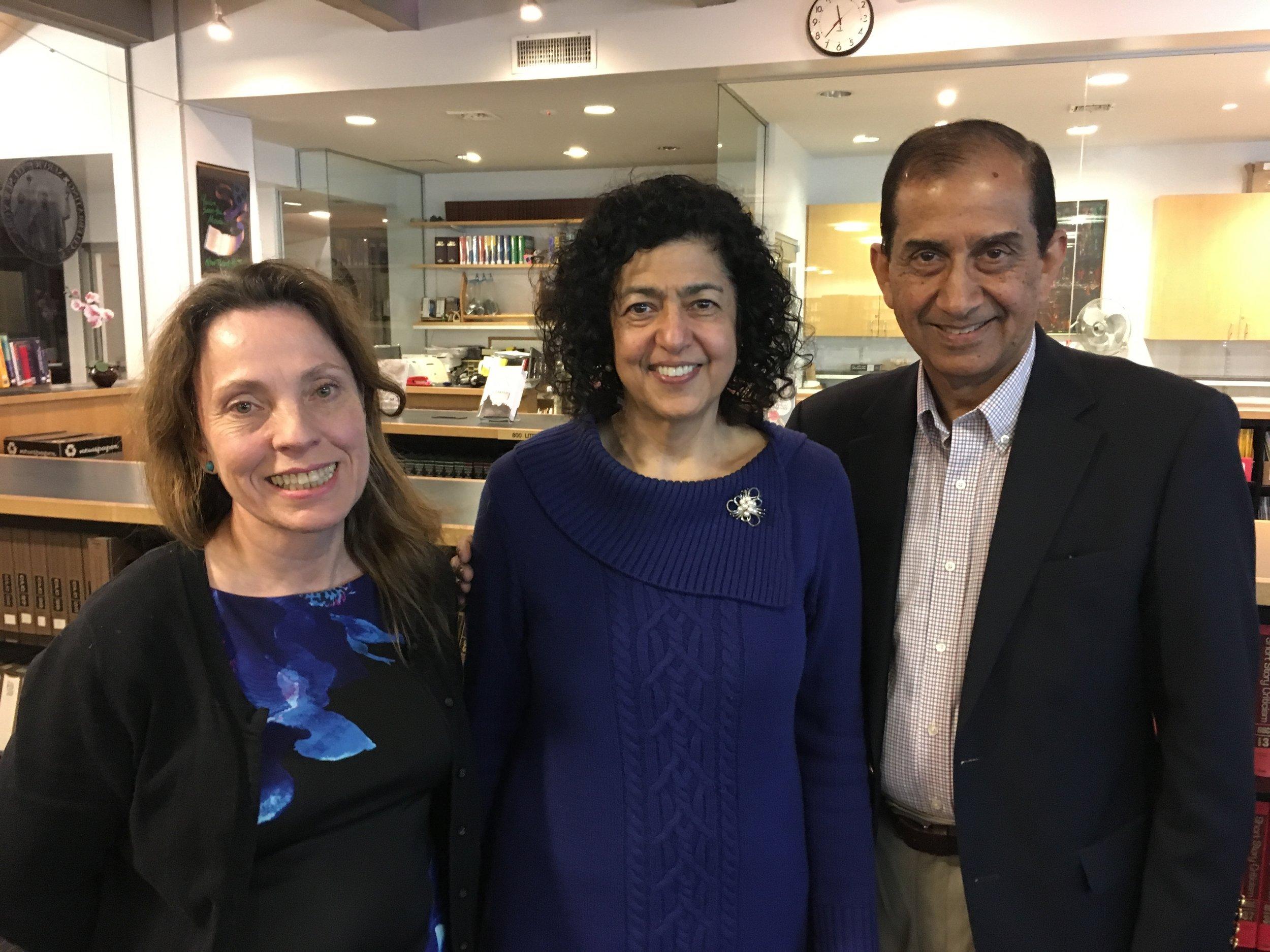 With Luz Marina Diaz and my husband Khalid at St. Francis of Xavier Church library.