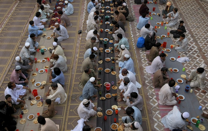 Communal iftar in a mosque