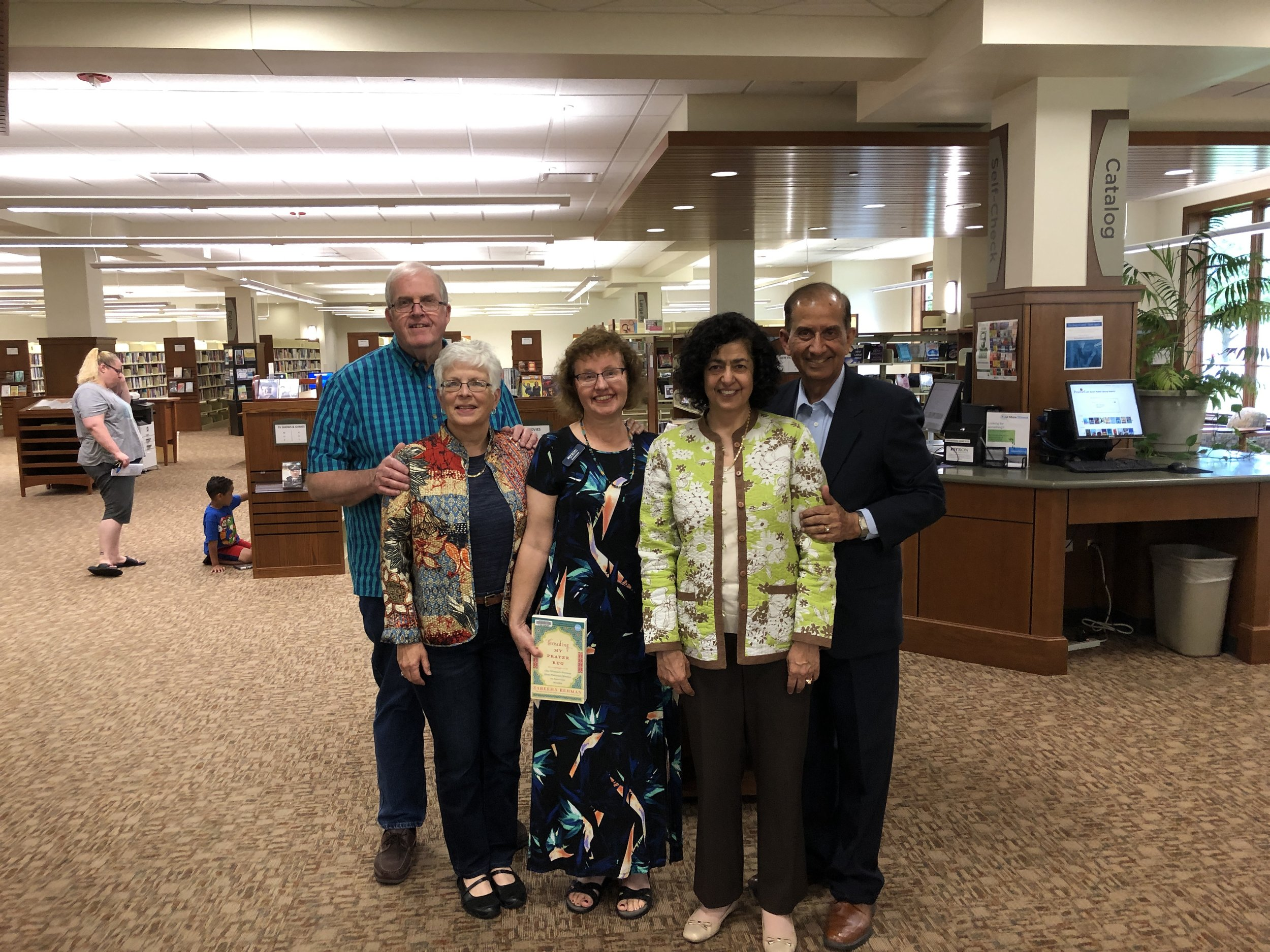 With Jeannine Hedges, Librarian, and our hosts Meredith and Brad Townsend