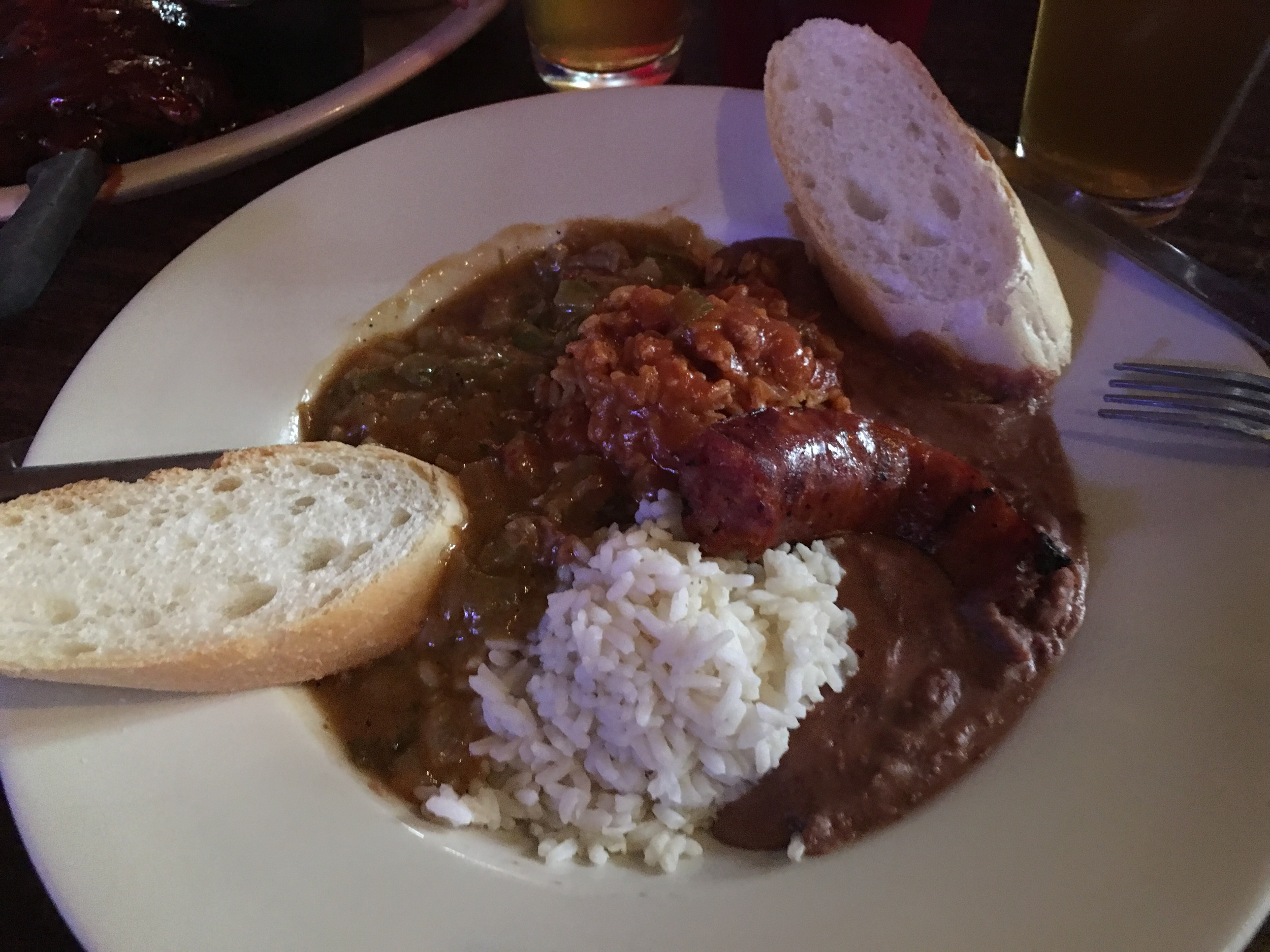 Red beans & rice, gumbo,etouffe, andouille sausage & rice: a taste of New Orleans.