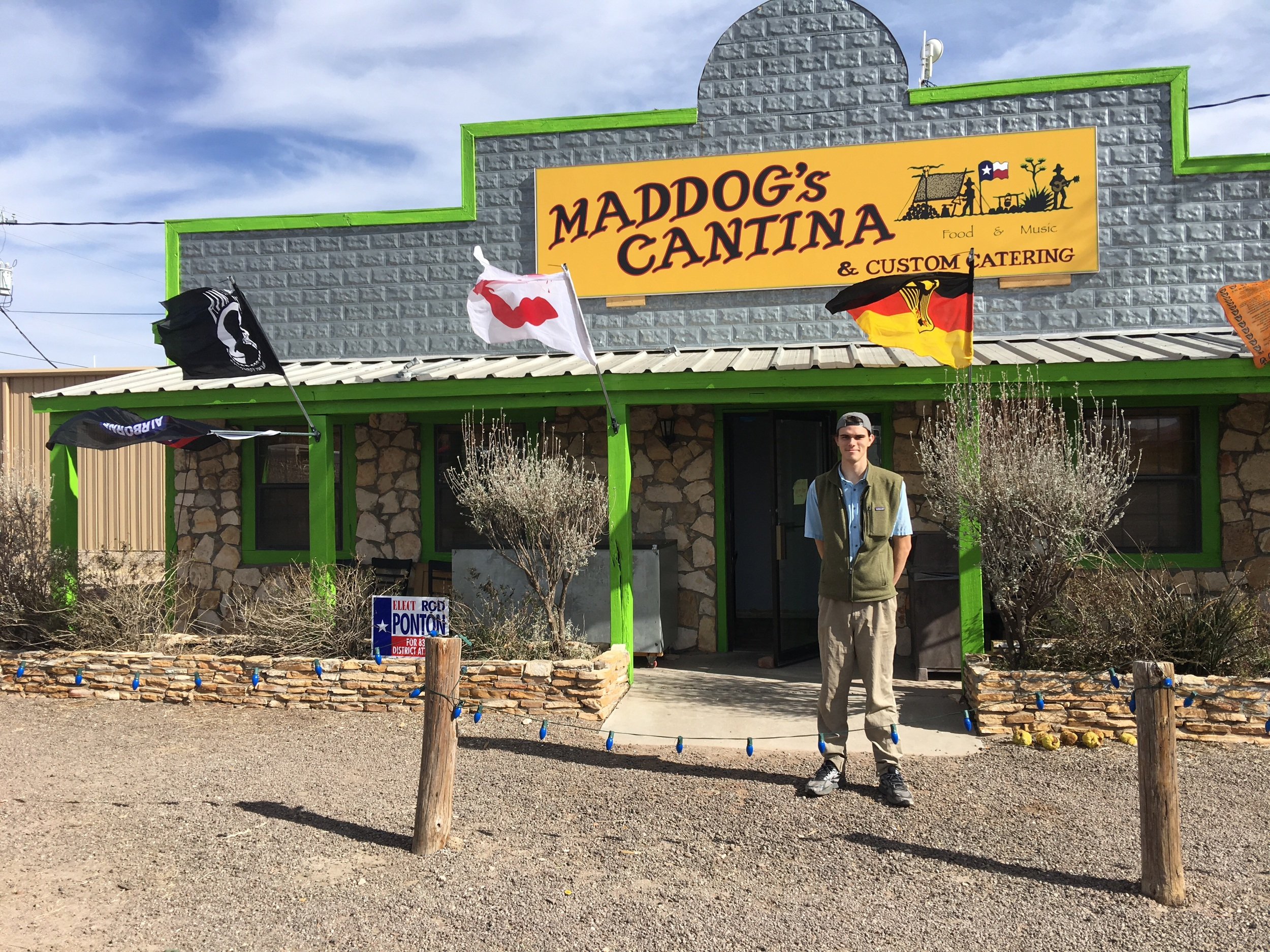 Caleb owns the Maddog Cantina in Fort Davis, he surprised us with an unusually great lunch in a no frills cafe. He shared a lot of the local history and his story of how he ended up here when his car broke down.