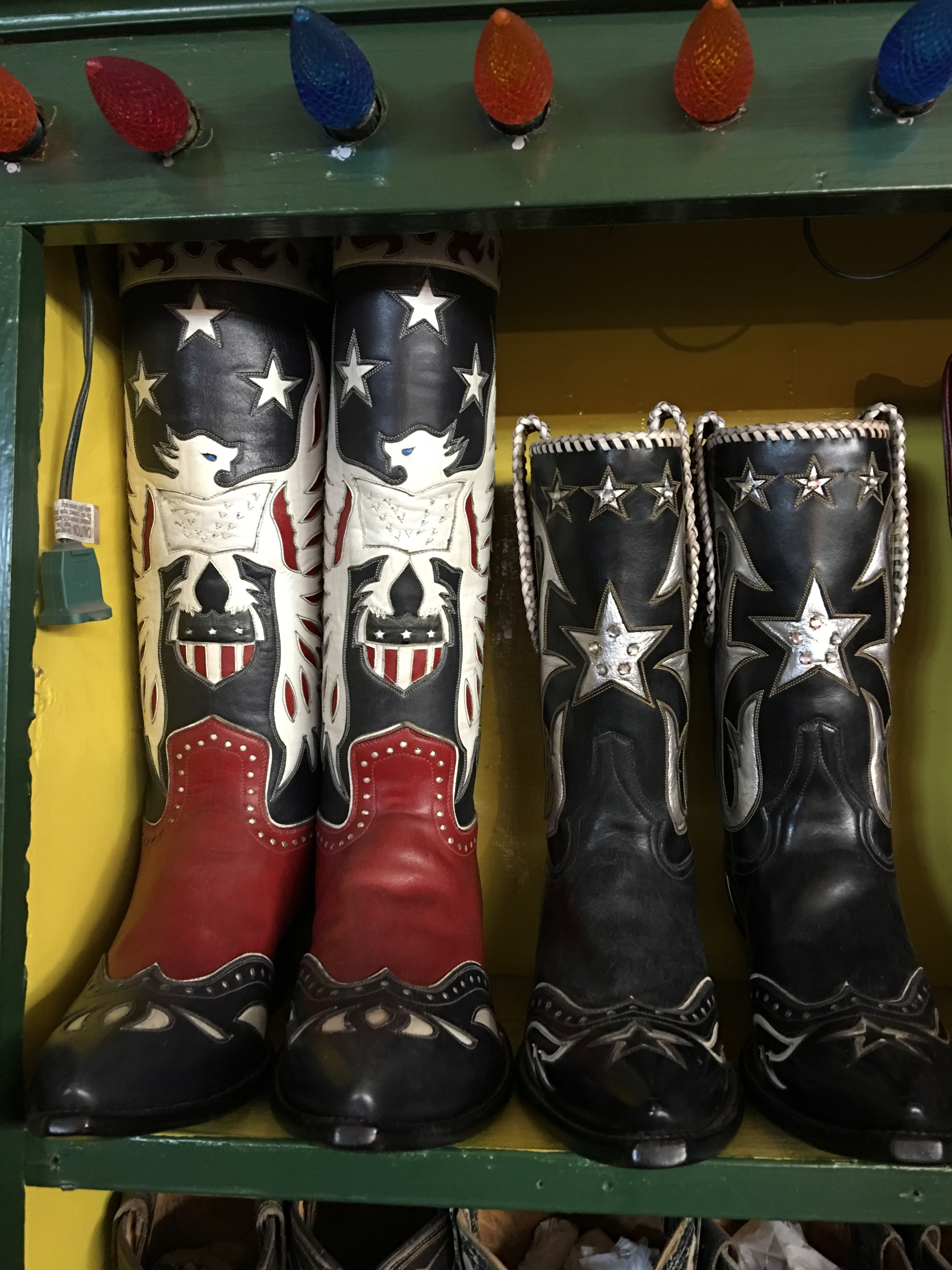 "Nevena is a ""collector"", pictured are Roy Rodgers and Dale Evan's autographed boots."