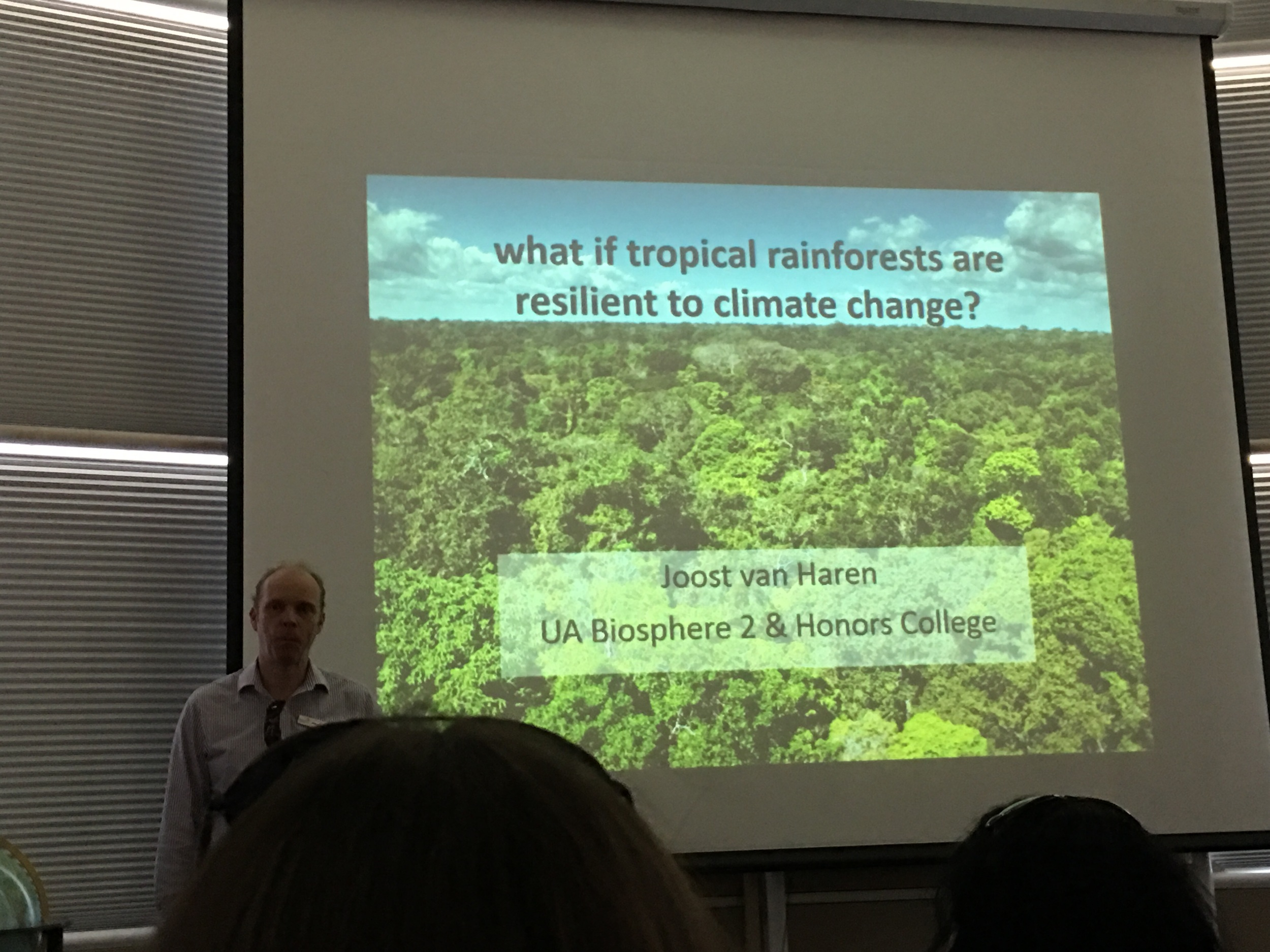 "We attended a lecture by Joost vanHaren, chief rainforest scientist. He is tracking ""Where the Carbon goes."""