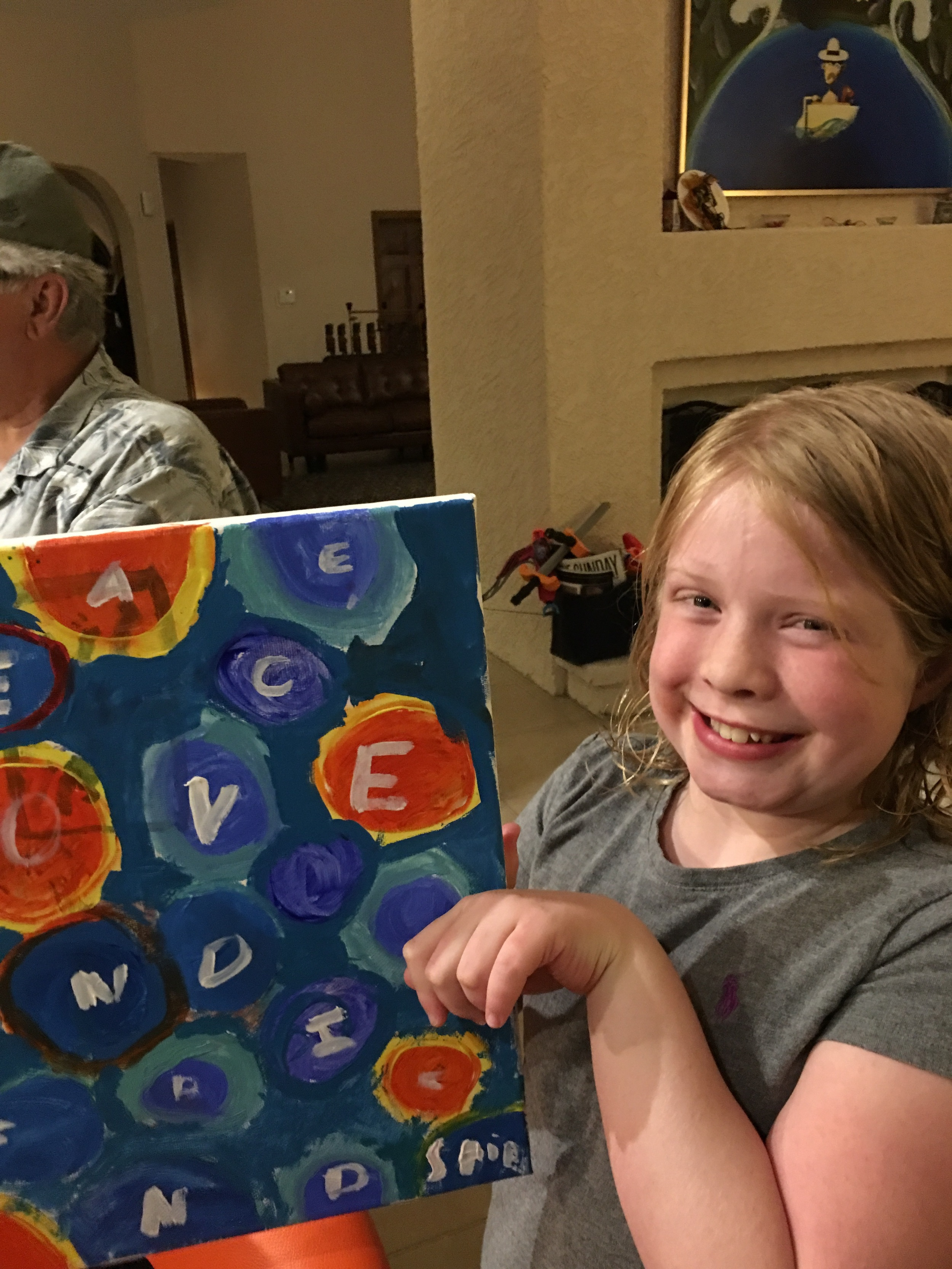 Avalon and her painting; her mom was in my brownie troop and they live in Vegas.