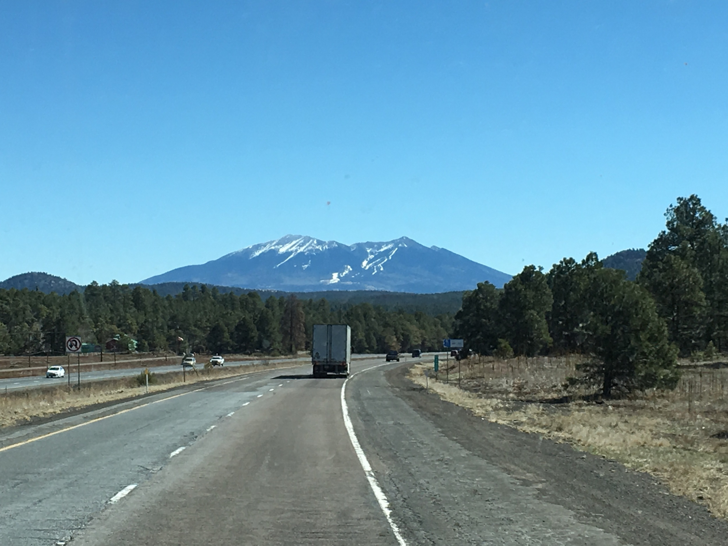 Approaching Flagstaff, AZ. Notice the ski trails in the distance.