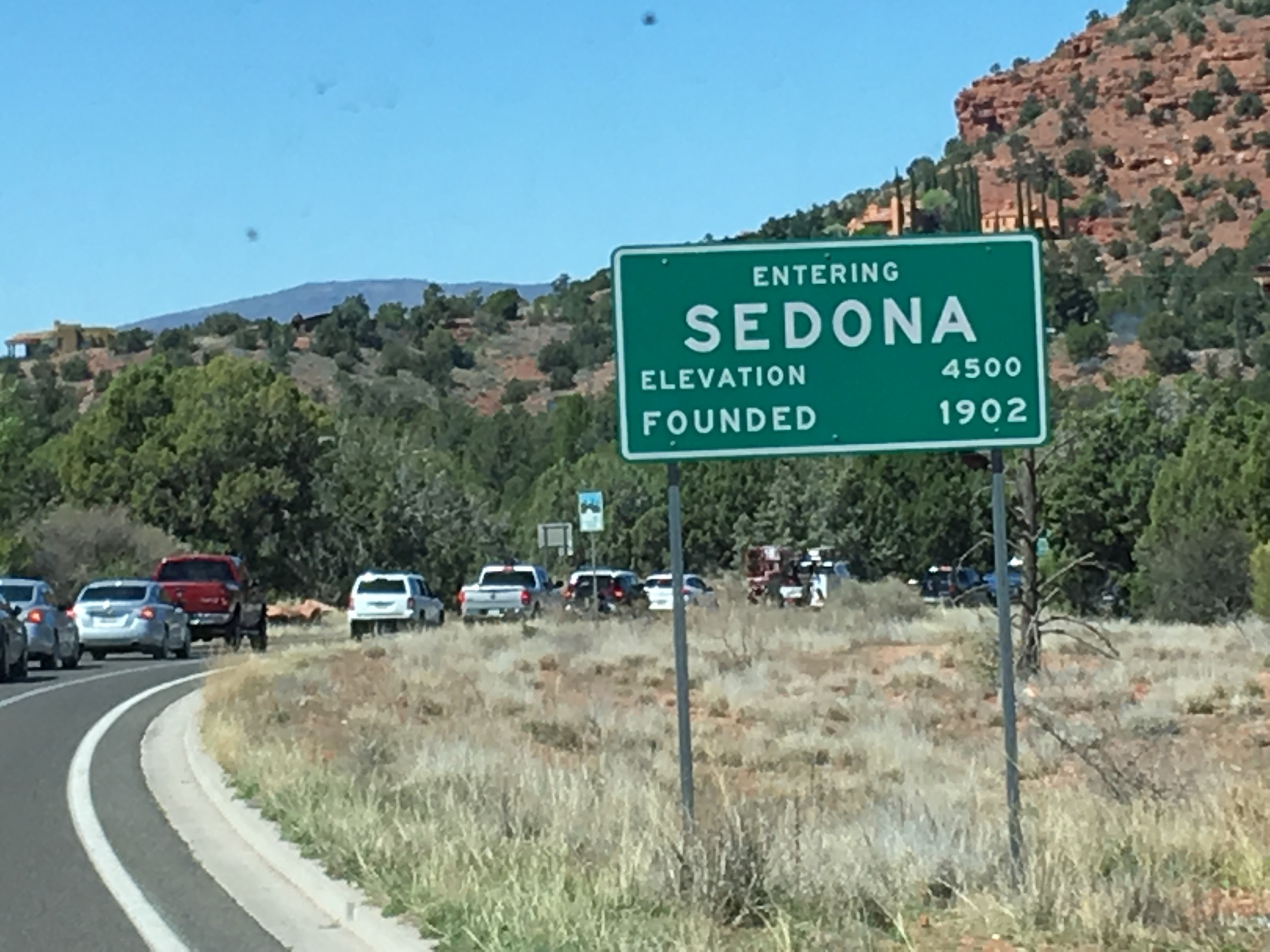 Spring break and everyone is going to Sedona. The city is surrounded by red rocks. The climate is moderate year round; it was in the low 70's today.