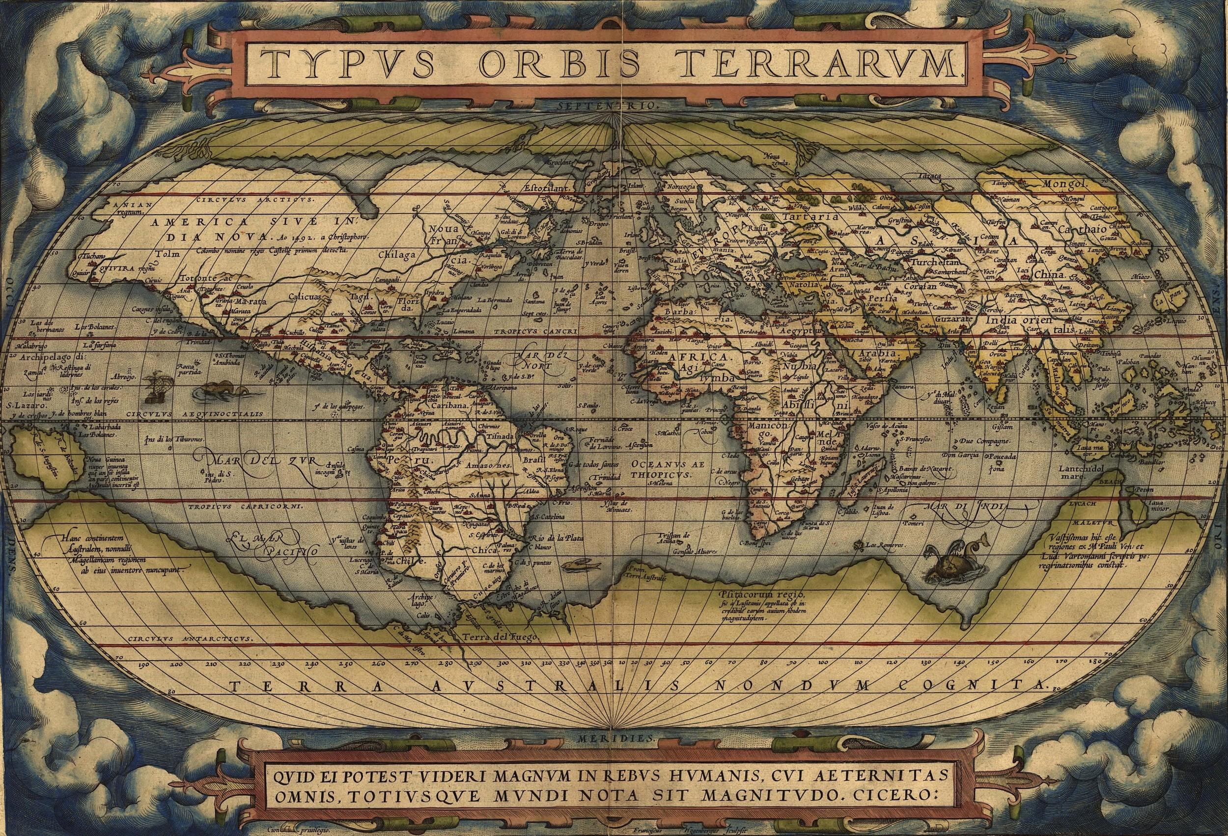Abraham Ortelius, Typus Orbis Terrarum, from the  Theatrum Orbis Terrarum , the first modern atlas,1570.