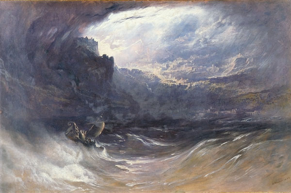 """""""The Deluge""""by John Martin, 1834. Oil on canvas.Yale University."""