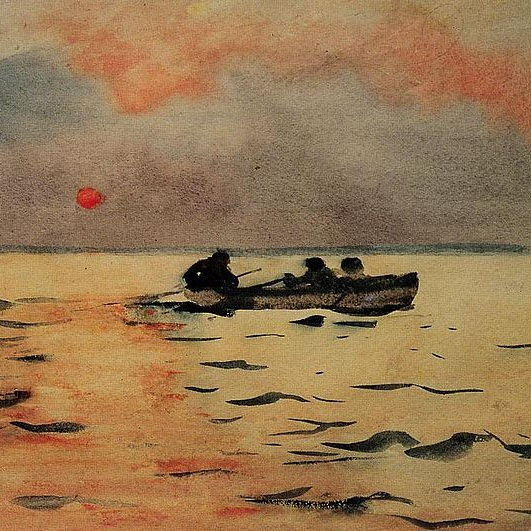 "Winslow Homer, ""Rowing Home."""