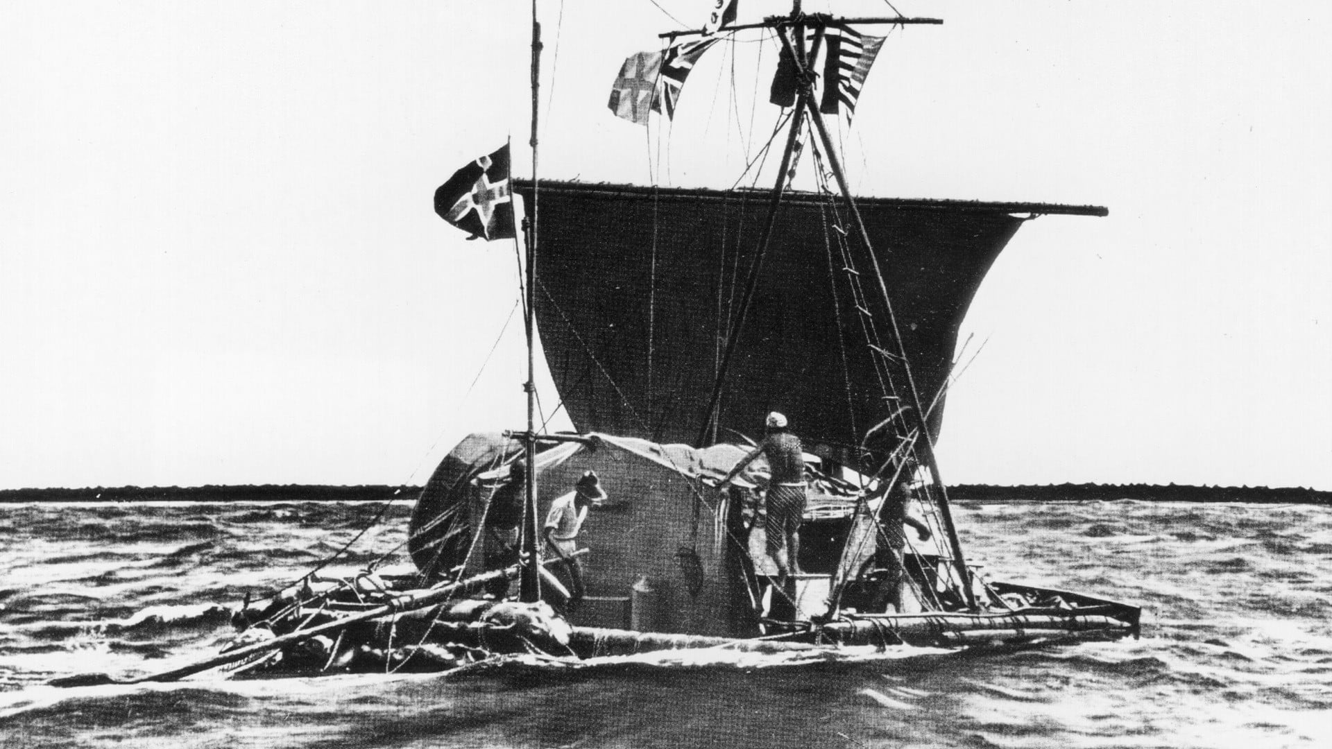 Thor Heyerdahl and companions, Kon-Tiki expedition, 1947.