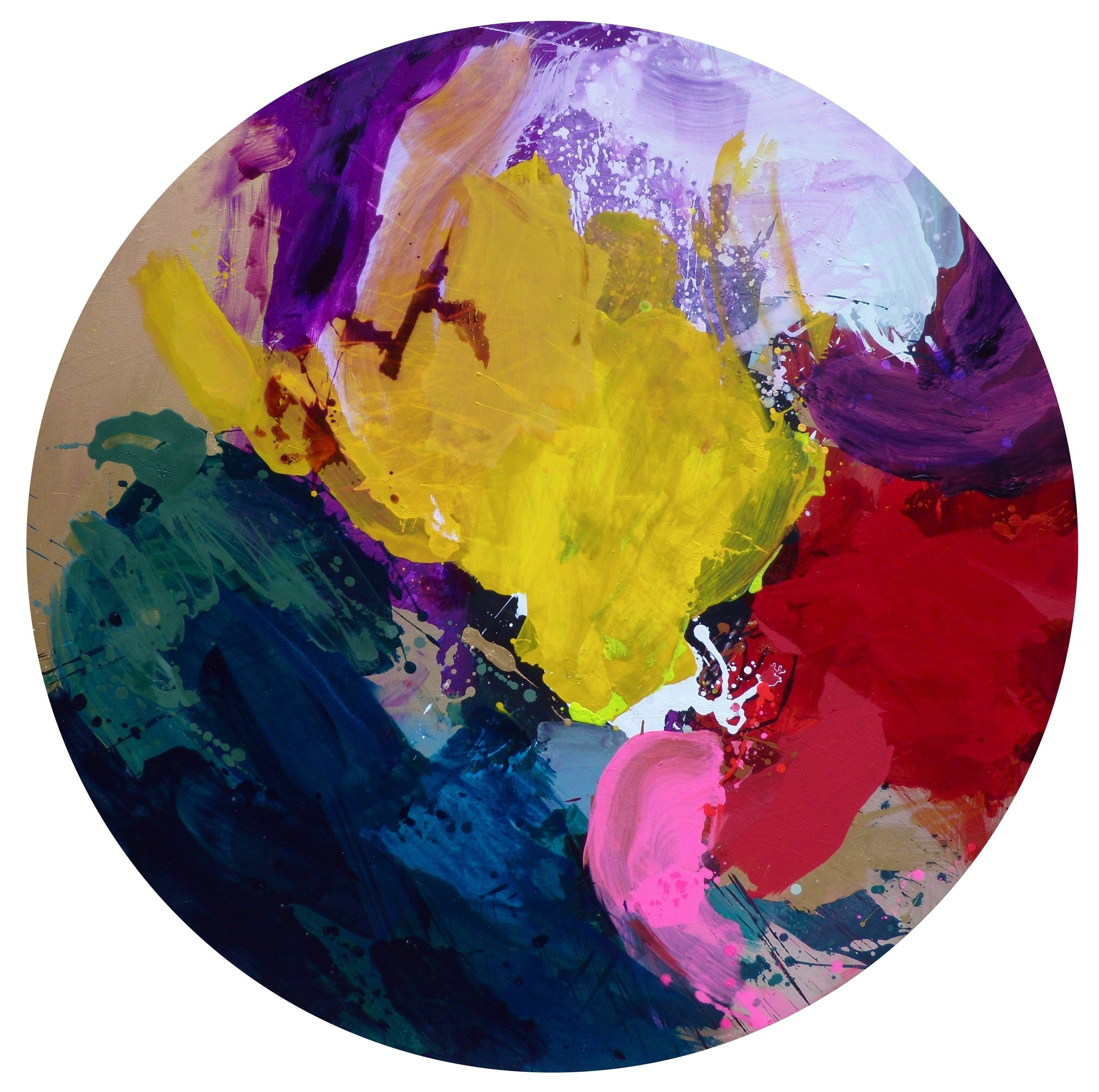 Bulle 2, Diam. 130 cm, Mixed medias on canvas.