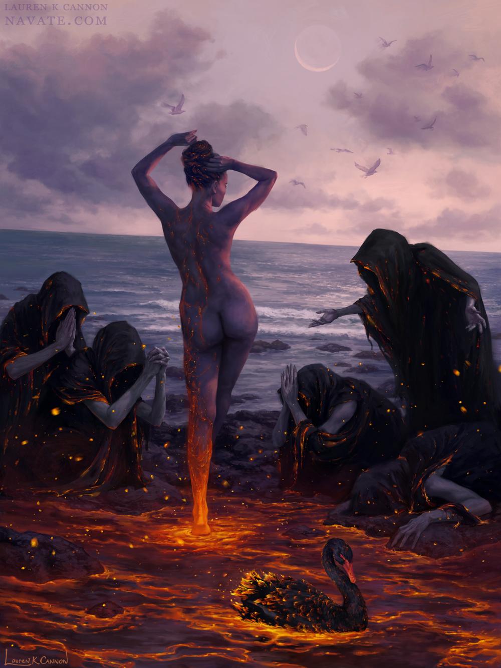 kindled dark souls black swan art illustration lauren k cannon horror dark fantasy