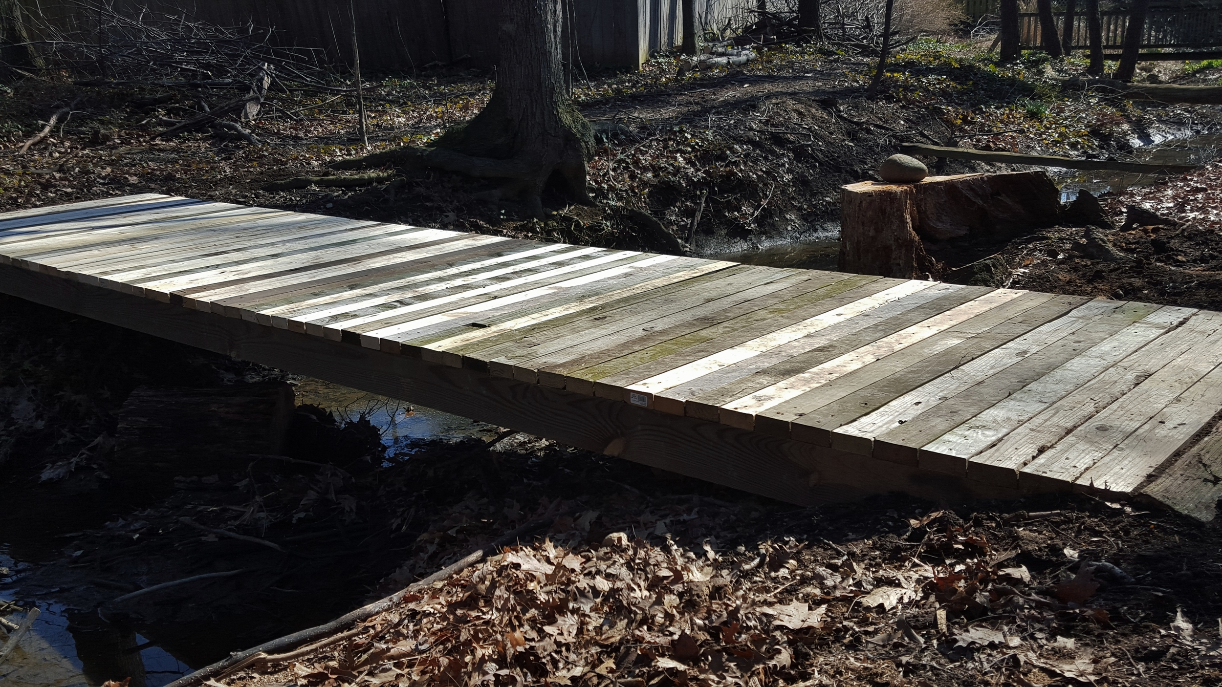 Finished bridge over creek.